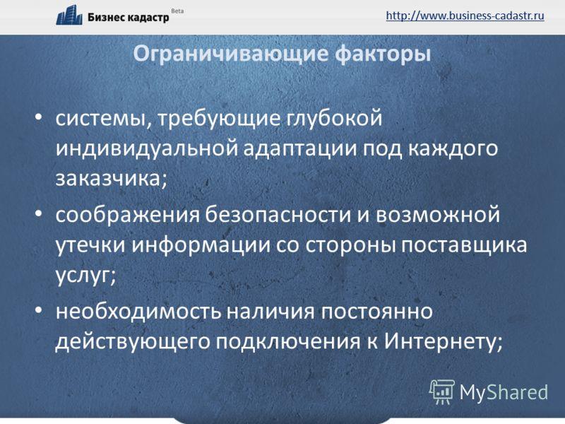 http://www.business-cadastr.ru Ограничивающие факторы системы, требующие глубокой индивидуальной адаптации под каждого заказчика; соображения безопасности и возможной утечки информации со стороны поставщика услуг; необходимость наличия постоянно дейс