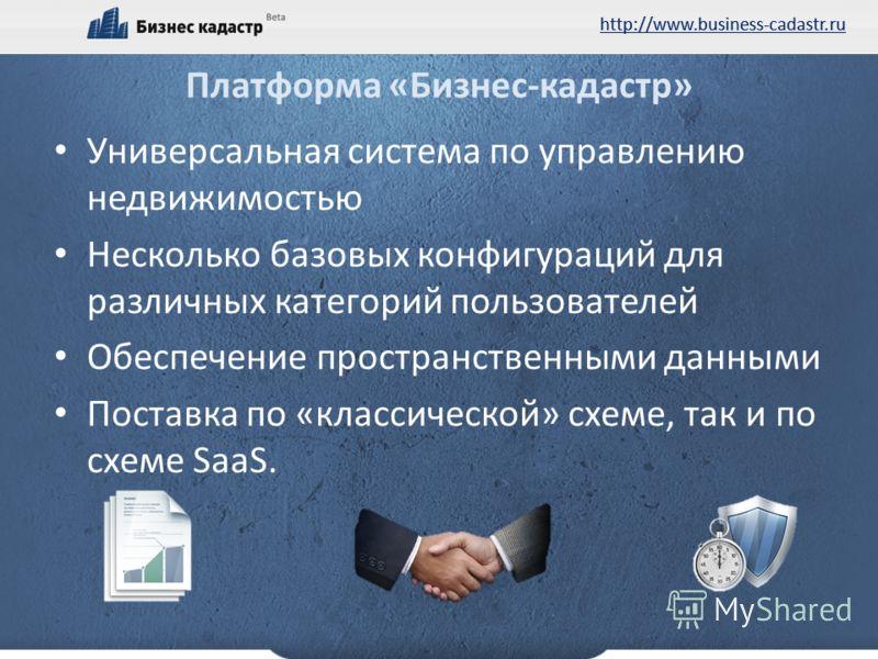 http://www.business-cadastr.ru Платформа «Бизнес-кадастр» Универсальная система по управлению недвижимостью Несколько базовых конфигураций для различных категорий пользователей Обеспечение пространственными данными Поставка по «классической» схеме, т