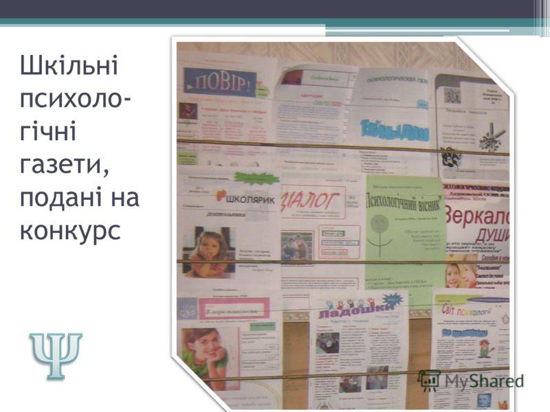Шкільні психоло- гічні газети, подані на конкурс