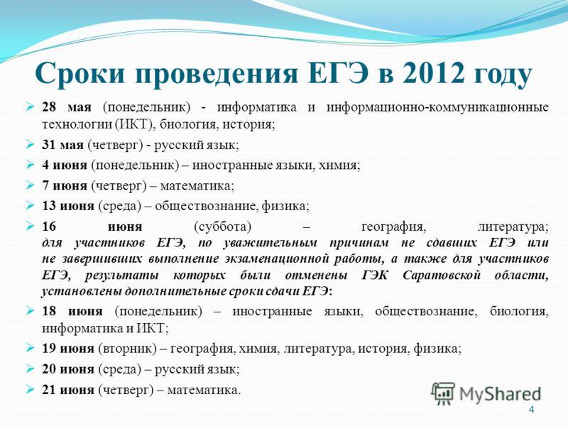Сроки проведения ЕГЭ в 2012 году 28 мая (понедельник) - информатика и информационно-коммуникационные технологии (ИКТ), биология, история; 31 мая (четверг) - русский язык; 4 июня (понедельник) – иностранные языки, химия; 7 июня (четверг) – математика;