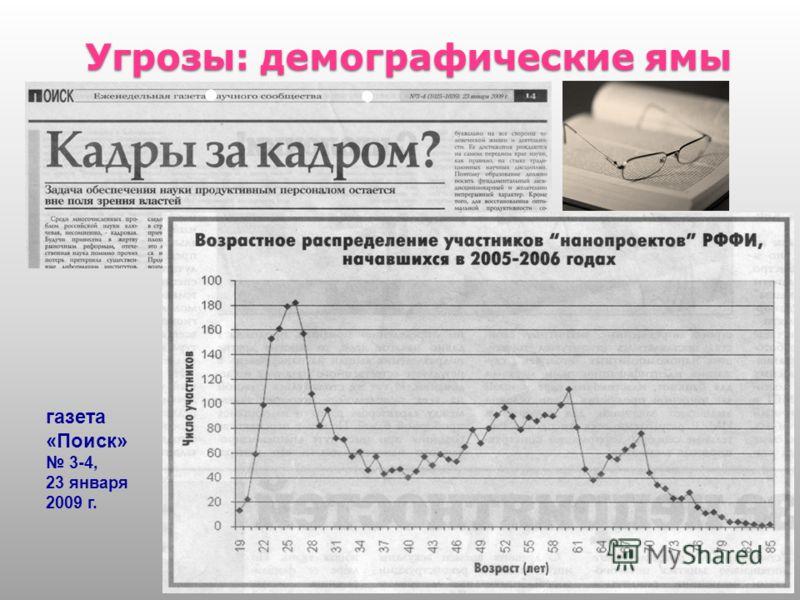 Угрозы: демографические ямы 6 газета «Поиск» 3-4, 23 января 2009 г.