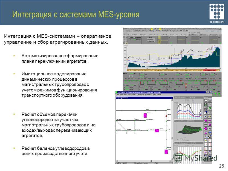 Интеграция с системами MES-уровня Интеграция с MES-системами – оперативное управление и сбор агрегированных данных. Автоматизированное формирование плана переключений агрегатов. Имитационное моделирование динамических процессов в магистральных трубоп