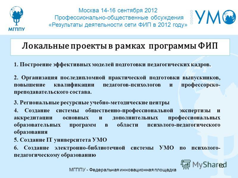 Москва 14-16 сентября 2012 Профессионально-общественные обсуждения «Результаты деятельности сети ФИП в 2012 году» МГППУ - Федеральная инновационная площадка 10 Локальные проекты в рамках программы ФИП 1. Построение эффективных моделей подготовки педа