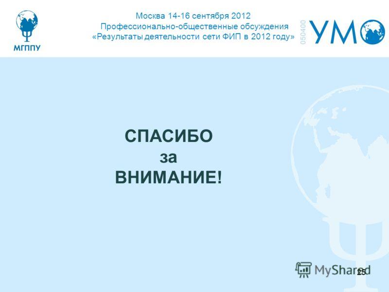 Москва 14-16 сентября 2012 Профессионально-общественные обсуждения «Результаты деятельности сети ФИП в 2012 году» СПАСИБО за ВНИМАНИЕ! 25