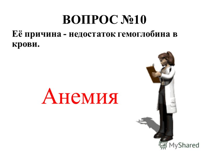 ВОПРОС 10 Её причина - недостаток гемоглобина в крови. Анемия