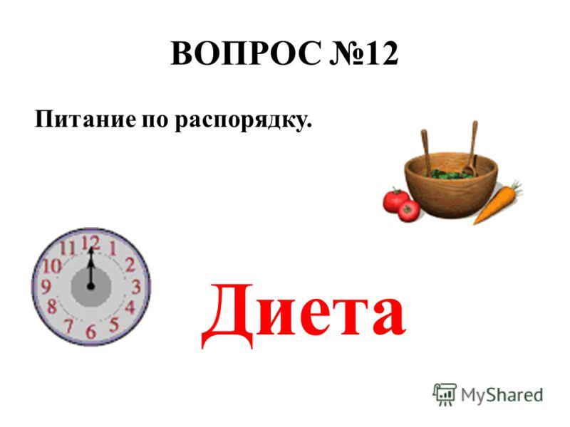 ВОПРОС 12 Питание по распорядку. Диета