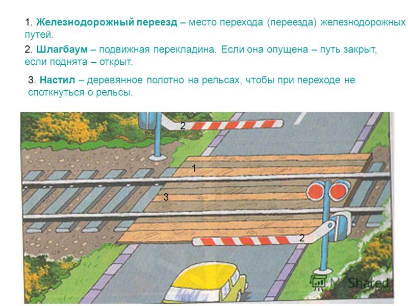 1. Железнодорожный переезд – место перехода (переезда) железнодорожных путей. 1 2. Шлагбаум – подвижная перекладина. Если она опущена – путь закрыт, если поднята – открыт. 2 2 3. Настил – деревянное полотно на рельсах, чтобы при переходе не споткнуть