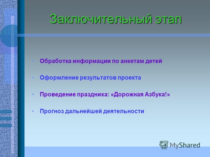 Заключительный этап Обработка информации по анкетам детей Оформление результатов проекта Проведение праздника: «Дорожная Азбука!» Прогноз дальнейшей деятельности
