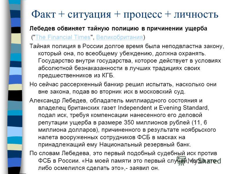 Факт + ситуация + процесс + личность Лебедев обвиняет тайную полицию в причинении ущерба (