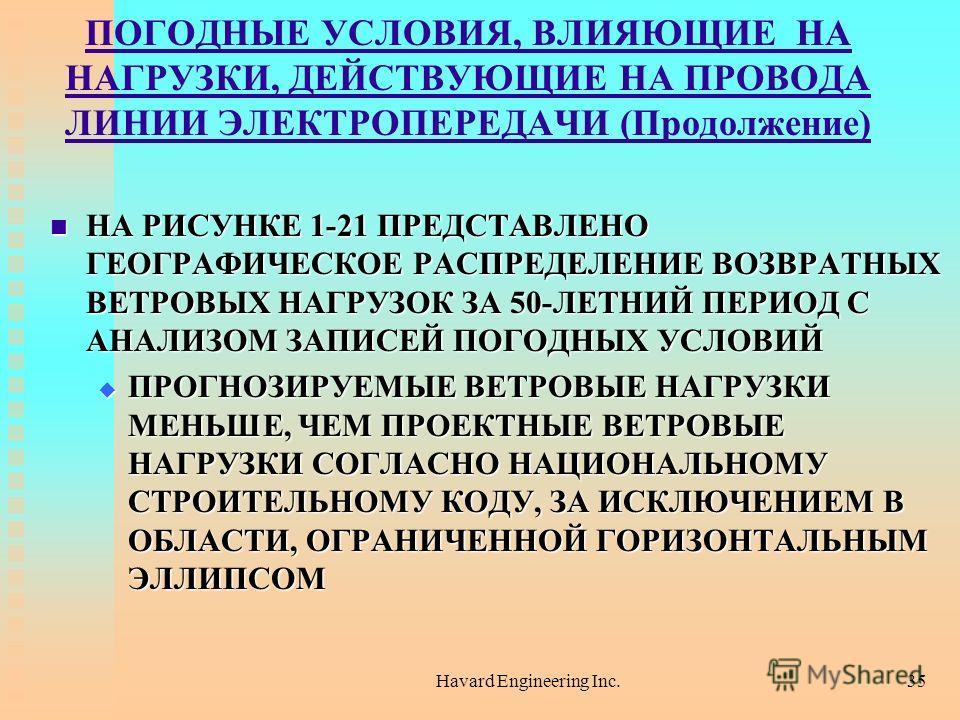 Havard Engineering Inc.35 ПОГОДНЫЕ УСЛОВИЯ, ВЛИЯЮЩИЕ НА НАГРУЗКИ, ДЕЙСТВУЮЩИЕ НА ПРОВОДА ЛИНИИ ЭЛЕКТРОПЕРЕДАЧИ (Продолжение) НА РИСУНКЕ 1-21 ПРЕДСТАВЛЕНО ГЕОГРАФИЧЕСКОЕ РАСПРЕДЕЛЕНИЕ ВОЗВРАТНЫХ ВЕТРОВЫХ НАГРУЗОК ЗА 50-ЛЕТНИЙ ПЕРИОД С АНАЛИЗОМ ЗАПИСЕЙ