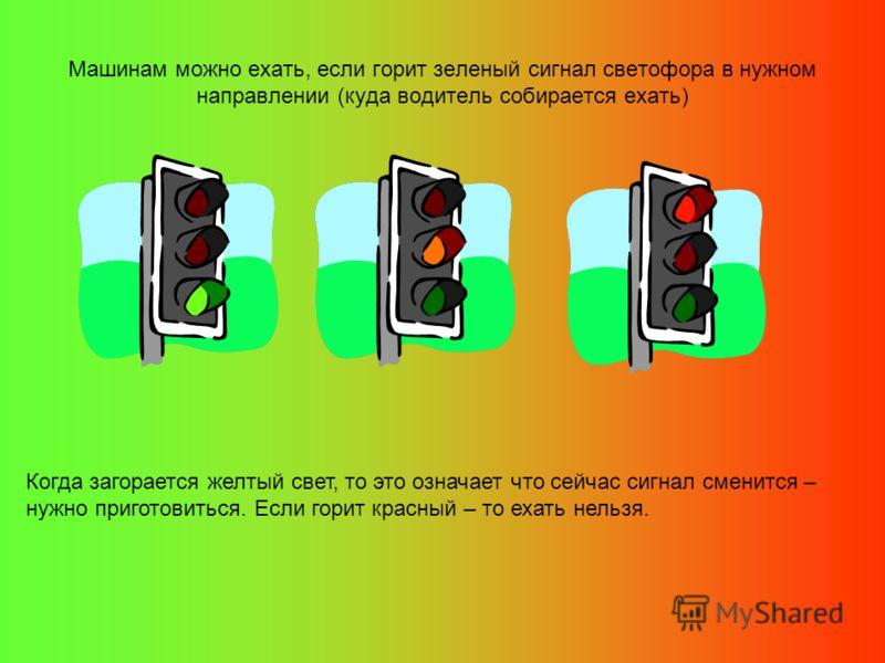 Машинам можно ехать, если горит зеленый сигнал светофора в нужном направлении (куда водитель собирается ехать) Когда загорается желтый свет, то это означает что сейчас сигнал сменится – нужно приготовиться. Если горит красный – то ехать нельзя.