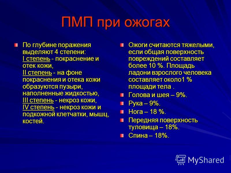 ПМП при ожогах Виды ожогов ТермическиеХимическиеЭлектрические