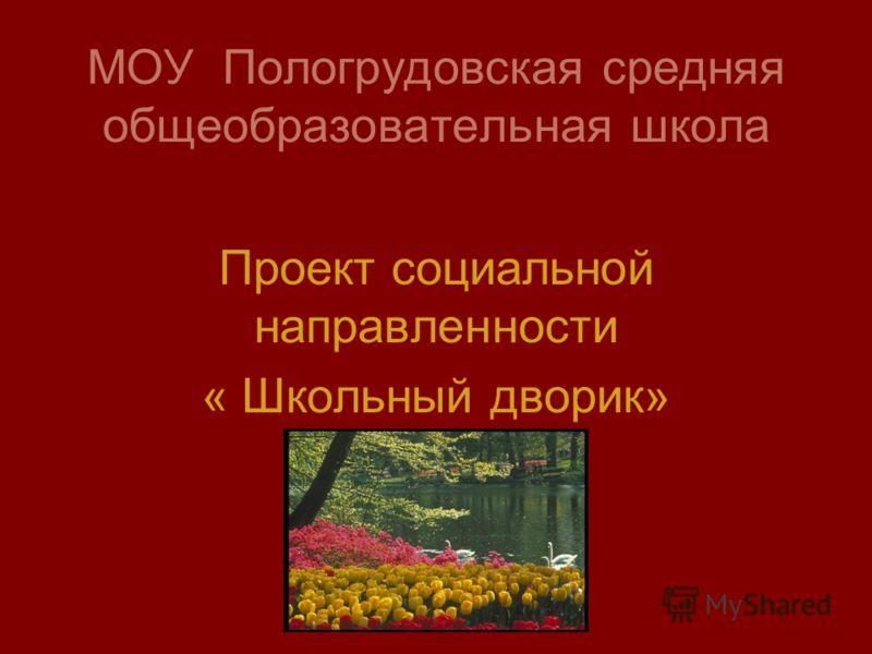 МОУ Пологрудовская средняя общеобразовательная школа Проект социальной направленности « Школьный дворик»