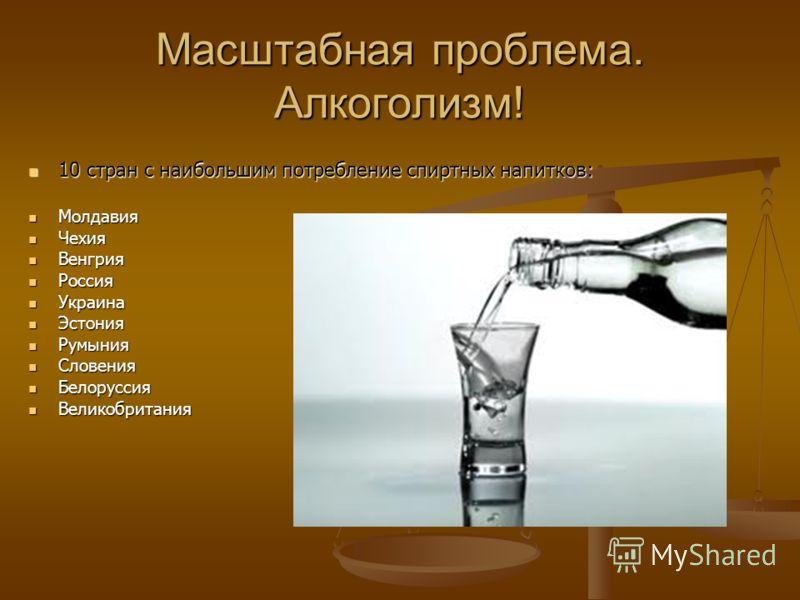 Масштабная проблема. Алкоголизм! 10 стран с наибольшим потребление спиртных напитков: 10 стран с наибольшим потребление спиртных напитков: Молдавия Молдавия Чехия Чехия Венгрия Венгрия Россия Россия Украина Украина Эстония Эстония Румыния Румыния Сло