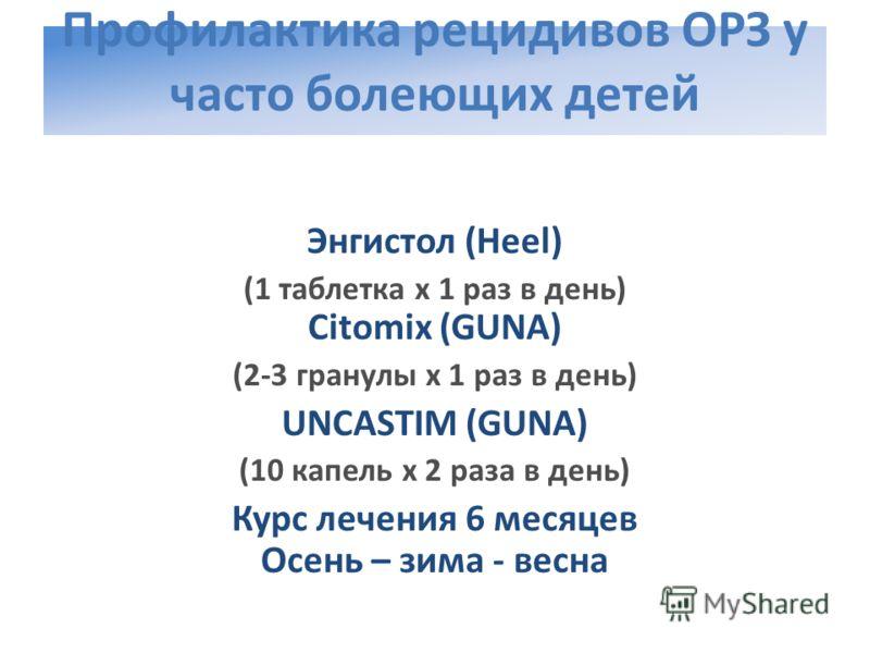 Профилактика рецидивов ОРЗ у часто болеющих детей Энгистол (Heel) (1 таблетка х 1 раз в день) Citomix (GUNA) (2-3 гранулы х 1 раз в день) UNCASTIM (GUNA) (10 капель х 2 раза в день) Курс лечения 6 месяцев Осень – зима - весна