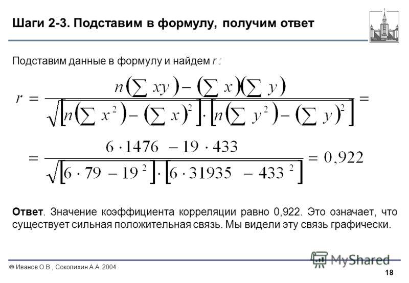 18 Иванов О.В., Соколихин А.А. 2004 Шаги 2-3. Подставим в формулу, получим ответ Подставим данные в формулу и найдем r : Ответ. Значение коэффициента корреляции равно 0,922. Это означает, что существует сильная положительная связь. Мы видели эту связ