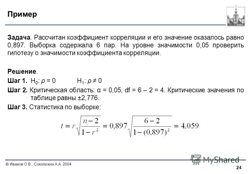 24 Иванов О.В., Соколихин А.А. 2004 Пример Задача. Рассчитан коэффициент корреляции и его значение оказалось равно 0,897. Выборка содержала 6 пар. На уровне значимости 0,05 проверить гипотезу о значимости коэффициента корреляции. Решение. Шаг 1. Н 0