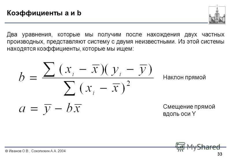 33 Иванов О.В., Соколихин А.А. 2004 Коэффициенты a и b Два уравнения, которые мы получим после нахождения двух частных производных, представляют систему с двумя неизвестными. Из этой системы находятся коэффициенты, которые мы ищем: Наклон прямой Смещ
