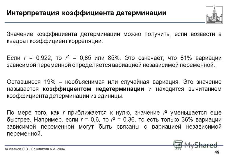 49 Иванов О.В., Соколихин А.А. 2004 Интерпретация коэффициента детерминации Значение коэффициента детерминации можно получить, если возвести в квадрат коэффициент корреляции. Если r = 0,922, то r 2 = 0,85 или 85%. Это означает, что 81% вариации завис