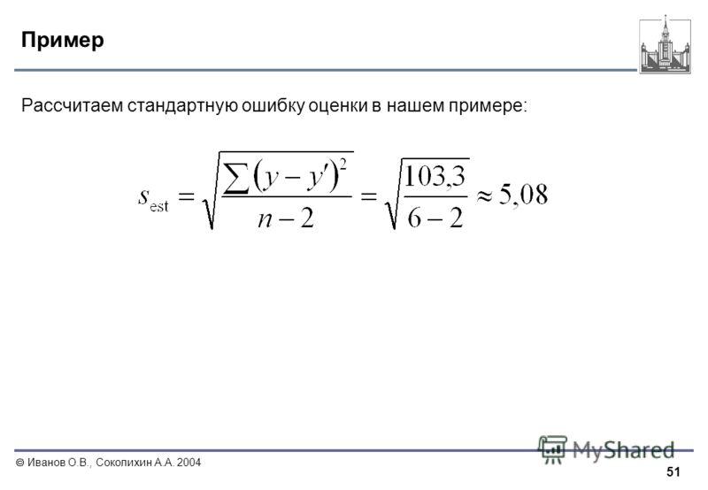 51 Иванов О.В., Соколихин А.А. 2004 Пример Рассчитаем стандартную ошибку оценки в нашем примере: