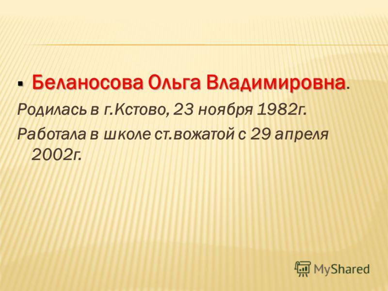 Беланосова Ольга Владимировна Беланосова Ольга Владимировна. Родилась в г.Кстово, 23 ноября 1982г. Работала в школе ст.вожатой с 29 апреля 2002г.