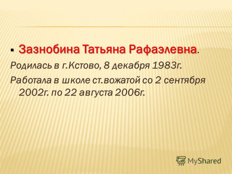 Зазнобина Татьяна Рафаэлевна Зазнобина Татьяна Рафаэлевна. Родилась в г.Кстово, 8 декабря 1983г. Работала в школе ст.вожатой со 2 сентября 2002г. по 22 августа 2006г.