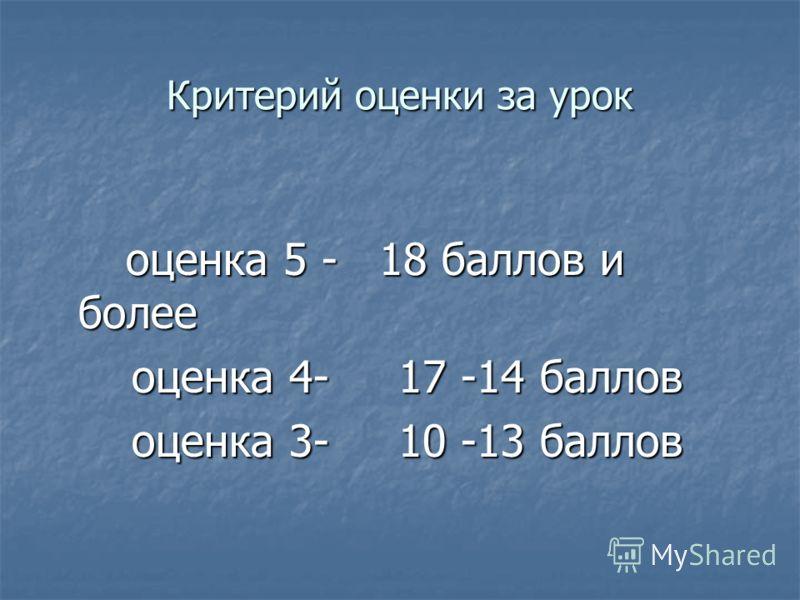 Критерий оценки за урок оценка 5 - 18 баллов и более оценка 5 - 18 баллов и более оценка 4- 17 -14 баллов оценка 4- 17 -14 баллов оценка 3- 10 -13 баллов оценка 3- 10 -13 баллов