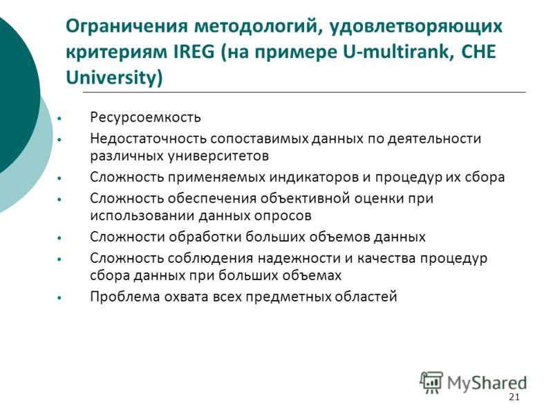 21 Ограничения методологий, удовлетворяющих критериям IREG (на примере U-multirank, CHE University) Ресурсоемкость Недостаточность сопоставимых данных по деятельности различных университетов Сложность применяемых индикаторов и процедур их сбора Сложн