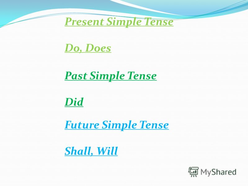 Present Simple Tense Do, Does Past Simple Tense Did Future Simple Tense Shall, Will