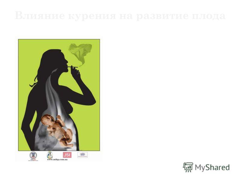 Вставка рисунка Влияние курения на развитие плода Масса тела ребенка, рожденного курящей матерью, примерно на 200 грамм меньше, чем у не курящей. У детей, рожденных курящими женщинами, несколько чаще риск смерти в раннем возрасте. Это связано с ослаб