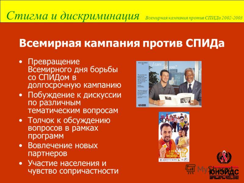 Стигма и дискриминация Всемирная кампания против СПИДа 2002-2003 Всемирная кампания против СПИДа Превращение Всемирного дня борьбы со СПИДом в долгосрочную кампанию Побуждение к дискуссии по различным тематическим вопросам Толчок к обсуждению вопросо