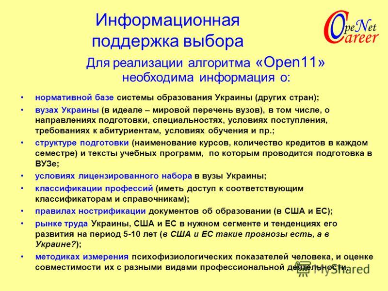 Информационная поддержка выбора Для реализации алгоритма «Open11» необходима информация о: нормативной базе системы образования Украины (других стран); вузах Украины (в идеале – мировой перечень вузов), в том числе, о направлениях подготовки, специал