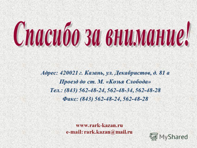 Адрес: 420021 г. Казань, ул. Декабристов, д. 81 а Проезд до ст. М. «Козья Слобода» Тел.: (843) 562-48-24, 562-48-34, 562-48-28 Факс: (843) 562-48-24, 562-48-28 www.rark-kazan.ru е-mail: rark.kazan@mail.ru