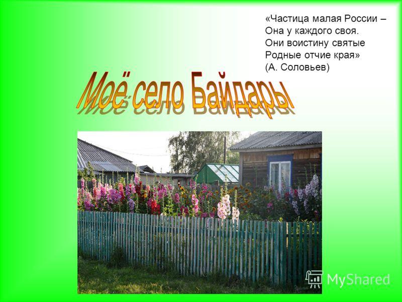 «Частица малая России – Она у каждого своя. Они воистину святые Родные отчие края» (А. Соловьев)