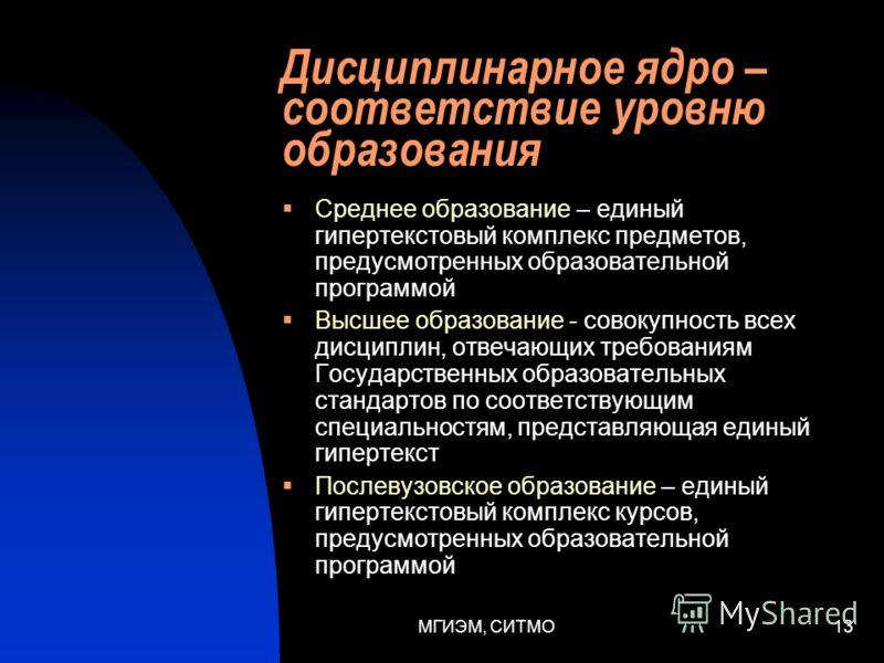 МГИЭМ, СИТМО12 Предметный сервер Дисциплинарное ядро Содержит все дисциплины, которые предусмотрены программой обучения или образовательным стандартом Совокупность дисциплин представляет собой единый гипертекст Имеет гиперсвязи с ИСБ