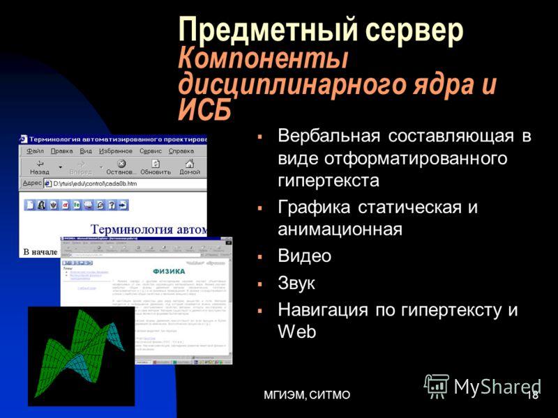 МГИЭМ, СИТМО17 Предметный сервер Информационно-справочная база - содержание Совокупность справочных материалов, сгруппированных по разделам, имеющих гиперсвязи Перечень разделов формируется по результатам анализа содержания дисциплинарного ядра Один