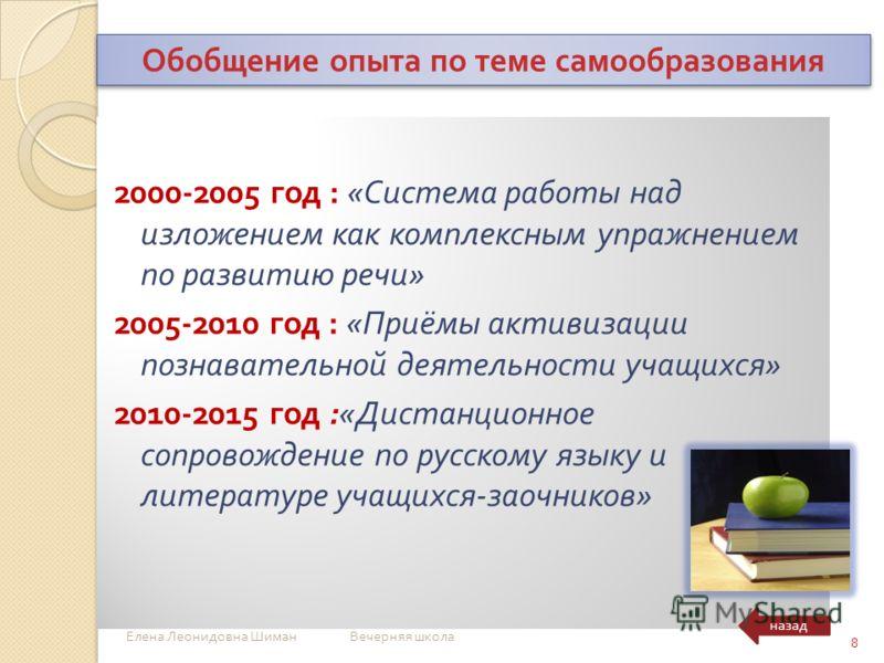 2000-2005 год : « Система работы над изложением как комплексным упражнением по развитию речи » 2005-2010 год : « Приёмы активизации познавательной деятельности учащихся » 2010-2015 год :« Дистанционное сопровождение по русскому языку и литературе уча