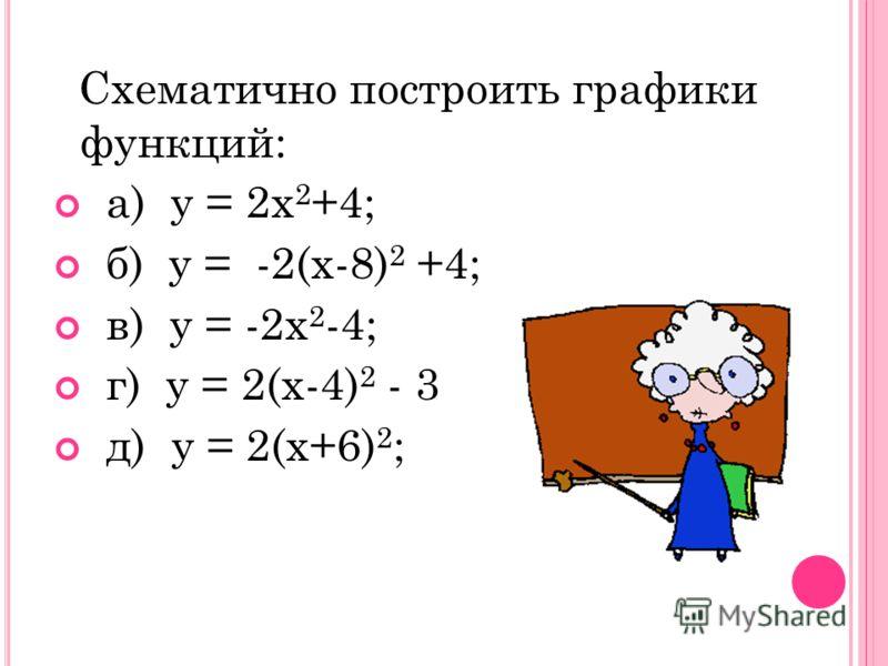 Схематично построить графики функций: а) у = 2х 2 +4; б) у = -2(х-8) 2 +4; в) у = -2х 2 -4; г) у = 2(х-4) 2 - 3 д) у = 2(х+6) 2 ;