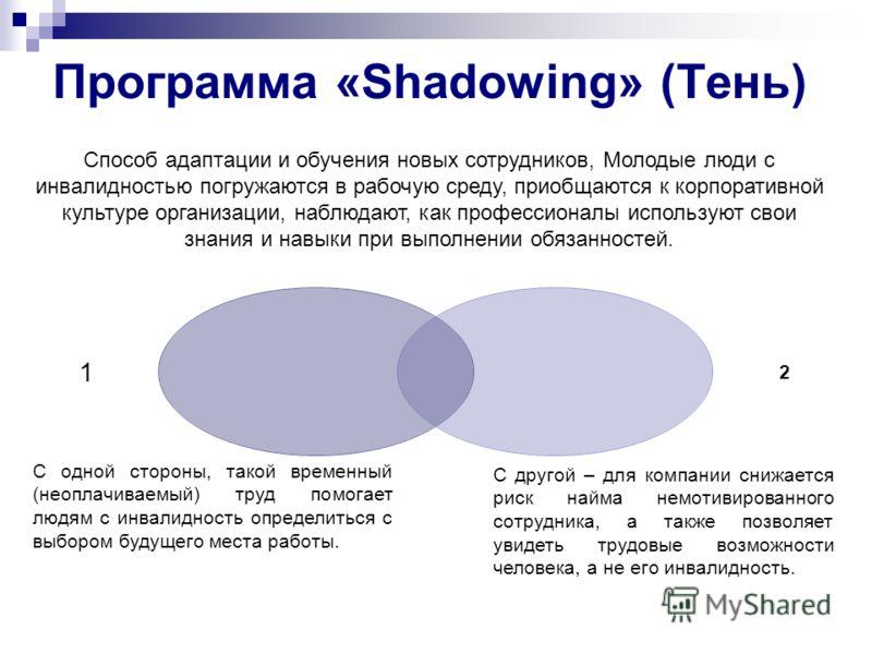 Программа «Shadowing» (Тень) 12 Способ адаптации и обучения новых сотрудников, Молодые люди с инвалидностью погружаются в рабочую среду, приобщаются к корпоративной культуре организации, наблюдают, как профессионалы используют свои знания и навыки пр