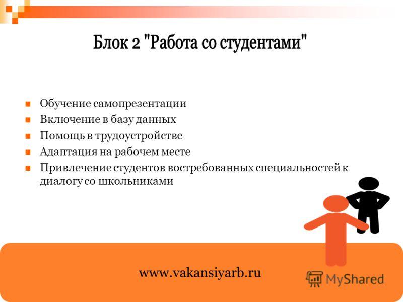Обучение самопрезентации Включение в базу данных Помощь в трудоустройстве Адаптация на рабочем месте Привлечение студентов востребованных специальностей к диалогу со школьниками www.vakansiyarb.ru