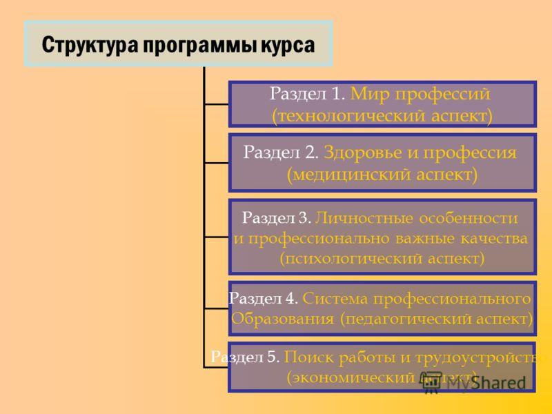 Структура программы курса Раздел 1. Мир профессий (технологический аспект) Раздел 2. Здоровье и профессия (медицинский аспект) Раздел 3. Личностные особенности и профессионально важные качества (психологический аспект) Раздел 4. Система профессиональ