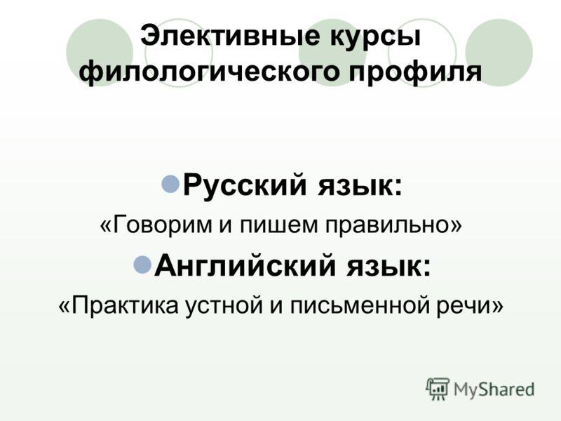 Элективные курсы филологического профиля Русский язык: «Говорим и пишем правильно» Английский язык: «Практика устной и письменной речи»