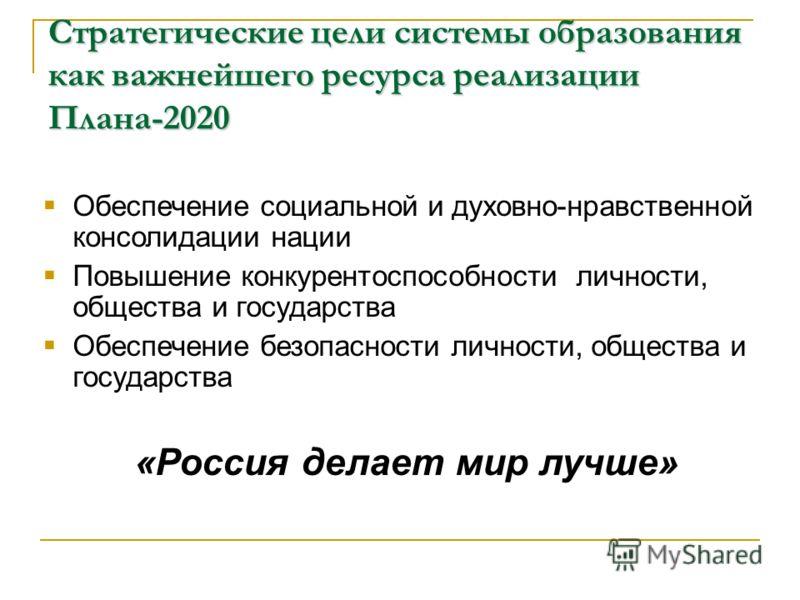 Стратегические цели системы образования как важнейшего ресурса реализации Плана-2020 Обеспечение социальной и духовно-нравственной консолидации нации Повышение конкурентоспособности личности, общества и государства Обеспечение безопасности личности,