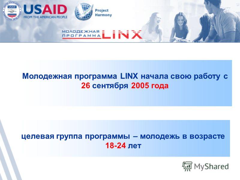 целевая группа программы – молодежь в возрасте 18-24 лет Молодежная программа LINX начала свою работу с 26 сентября 2005 года