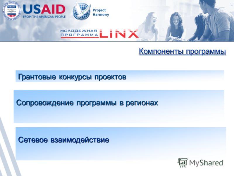 Компоненты программы Сопровождение программы в регионах Грантовые конкурсы проектов Сетевое взаимодействие