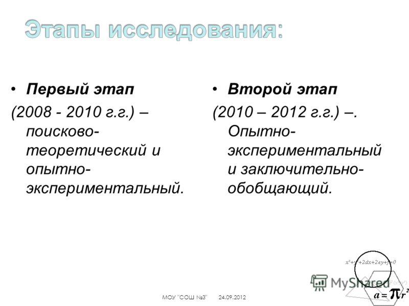 Первый этап (2008 - 2010 г.г.) – поисково- теоретический и опытно- экспериментальный. Второй этап (2010 – 2012 г.г.) –. Опытно- экспериментальный и заключительно- обобщающий. 24.09.2012МОУ СОШ 3