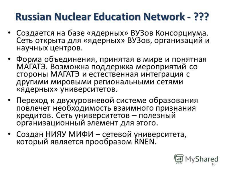 Russian Nuclear Education Network - ??? Создается на базе «ядерных» ВУЗов Консорциума. Сеть открыта для «ядерных» ВУЗов, организаций и научных центров. Форма объединения, принятая в мире и понятная МАГАТЭ. Возможна поддержка мероприятий со стороны МА