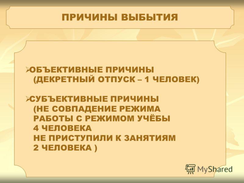 ПРИЧИНЫ ВЫБЫТИЯ ОБЪЕКТИВНЫЕ ПРИЧИНЫ (ДЕКРЕТНЫЙ ОТПУСК – 1 ЧЕЛОВЕК) СУБЪЕКТИВНЫЕ ПРИЧИНЫ (НЕ СОВПАДЕНИЕ РЕЖИМА РАБОТЫ С РЕЖИМОМ УЧЁБЫ 4 ЧЕЛОВЕКА НЕ ПРИСТУПИЛИ К ЗАНЯТИЯМ 2 ЧЕЛОВЕКА )