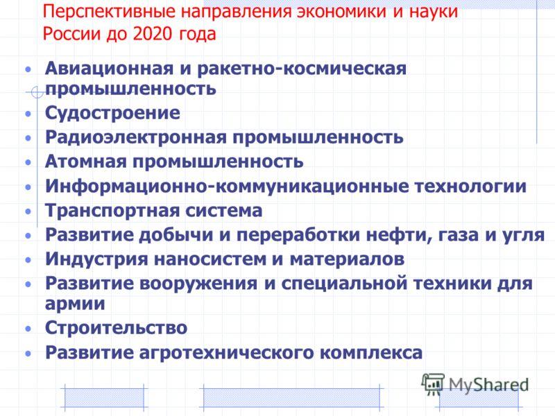 Перспективные направления экономики и науки России до 2020 года Авиационная и ракетно-космическая промышленность Судостроение Радиоэлектронная промышленность Атомная промышленность Информационно-коммуникационные технологии Транспортная система Развит