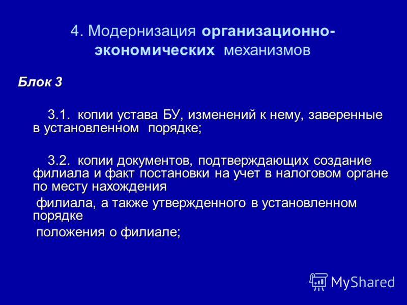 4. Модернизация организационно- экономических механизмов Блок 3 3.1. копии устава БУ, изменений к нему, заверенные в установленном порядке; 3.1. копии устава БУ, изменений к нему, заверенные в установленном порядке; 3.2. копии документов, подтверждаю
